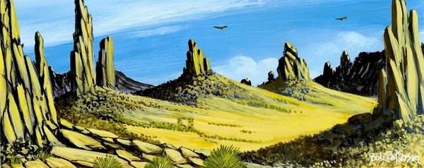 Monument Valley Poster featuring the painting Monument Valley Eagle Rock by Bob Patterson