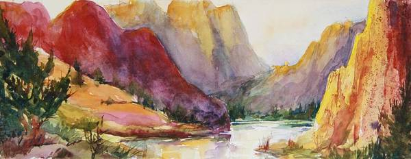 Poster featuring the painting Smith Rock Fall Morning 2 by Sukey Watson