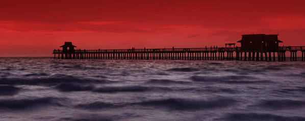 Usa Poster featuring the photograph Sunset At Naples Pier by Melanie Viola