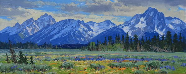 Landscape Poster featuring the painting Teton Summer by Lanny Grant