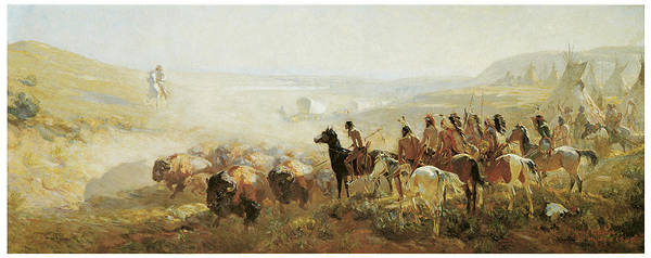 Irving R Bacon Poster featuring the painting The Conquest Of The Prairie by Irving R Bacon