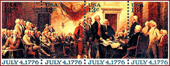 The Declaration Of Independence Stamps Poster featuring the painting The Declaration Of Independence by Lanjee Chee