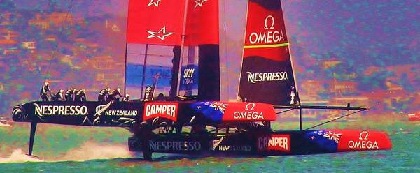 America's Cup Poster featuring the photograph Emirates Team New Zealand by Steven Holloway