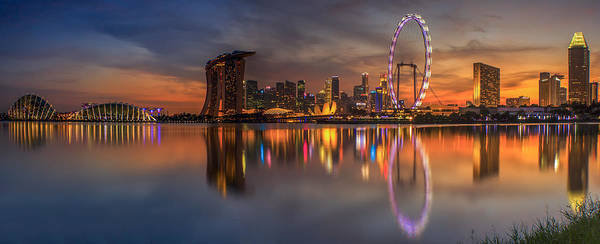 View Poster featuring the photograph Singapore City by Anek Suwannaphoom