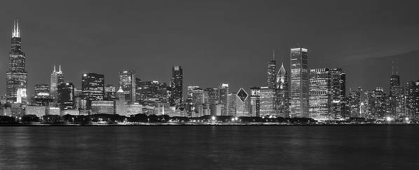 Chicago Poster featuring the photograph Chicago Black And White Evening by Donald Schwartz