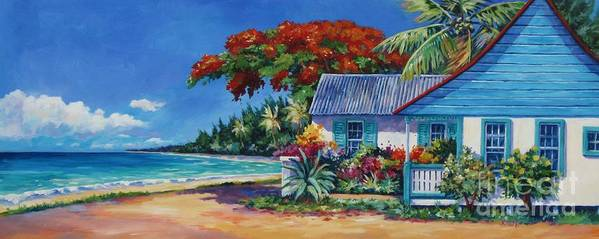 Art Poster featuring the painting Cottage On 7-mile Beach by John Clark