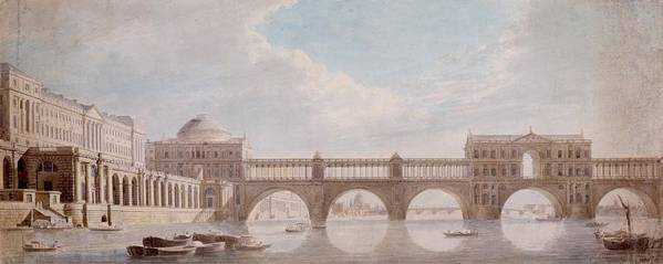 Proposed Design For A Bridge Over The River Thames At Somerset House Poster featuring the drawing Proposed Design For A Bridge by Thomas Sandby