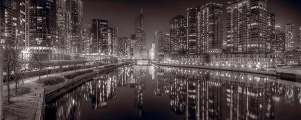 Chicago Poster featuring the photograph Chicago River East Bw by Steve Gadomski