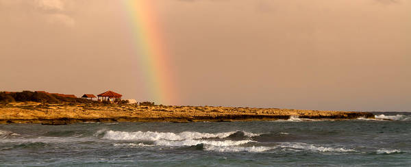 Background Poster featuring the photograph Rainbow By The Sea by Stelios Kleanthous