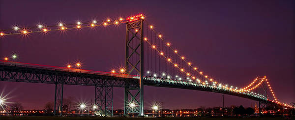 The Poster featuring the photograph The Ambassador Bridge At Night - Usa To Canada by Gordon Dean II