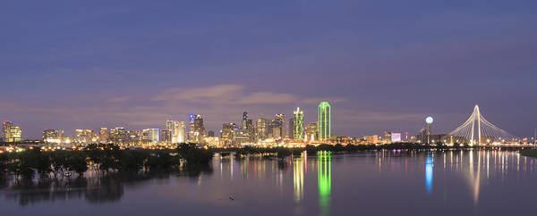 Margaret Hunt Hill Bridge Poster featuring the photograph Dallas Skyline Twilight by Jonathan Davison