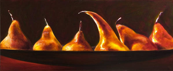 Pears Poster featuring the painting All Aboard by Shannon Grissom