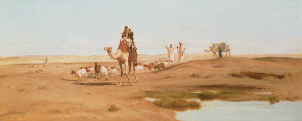 Landscape; Arab; Camel; Goatherd; Goats; Herd; Nomad; Nomadic; Oasis; North African; Berber Poster featuring the painting Bedouin In The Desert by Frederick Goodall