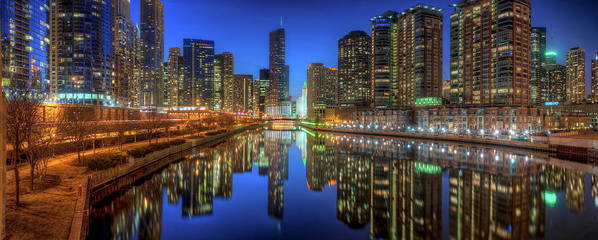 Chicago Poster featuring the photograph Chicago River East by Steve Gadomski