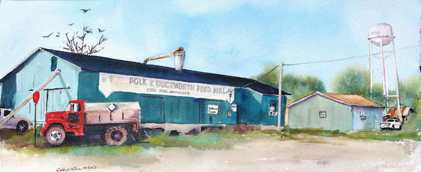 Old Feed Mill Poster featuring the painting Feed And Seed by Bobby Walters