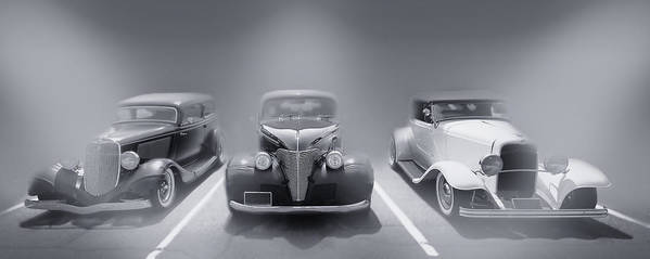 Hot Rod Poster featuring the photograph Hot Rod Power Black And White Poster by Dapixara Art