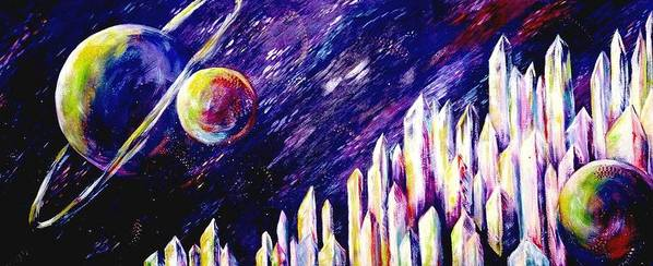 Outerspace Poster featuring the painting Joyride by Melody Horton Karandjeff