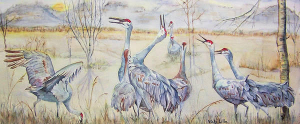 Sandhill Cranes Poster featuring the painting Look To The Sky by Vicky Lilla
