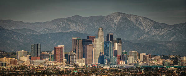 Horizontal Poster featuring the photograph Los Angeles Skyline by Neil Kremer