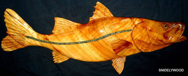 Wood Fish Poster featuring the sculpture Mega Snook Fish by Douglas Snider
