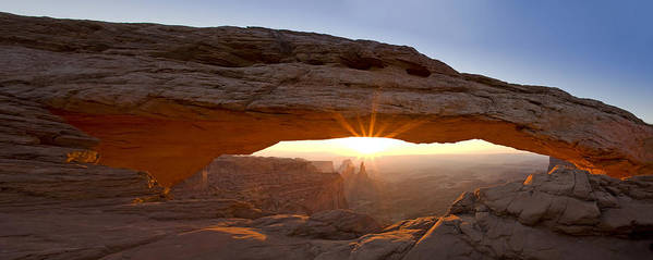 Mesa Arch Poster featuring the photograph Mesa Arch Panorama by Andrew Soundarajan