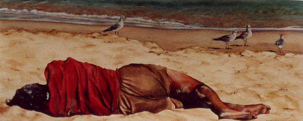 Man Poster featuring the painting Morning After by Marion Hylton