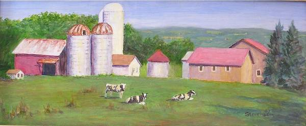 Landscape Poster featuring the painting Mud Lake Dairy Farm by Joseph Stevenson