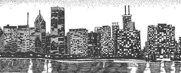 New York Skyline Poster featuring the drawing New York by Jo Anna McGinnis