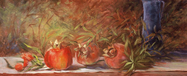 Still Life Poster featuring the painting Pomegranates by Jimmie Trotter