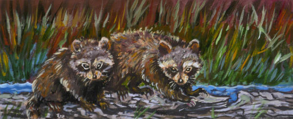 Animal Poster featuring the painting Raccoons From River Mural by Dawn Senior-Trask