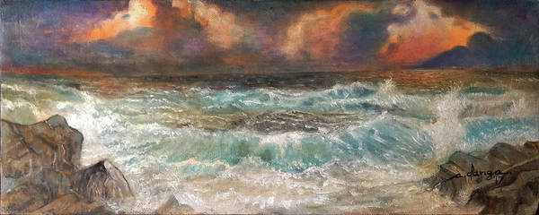 Sea Poster featuring the painting Waves 3 by Arnildo Danga