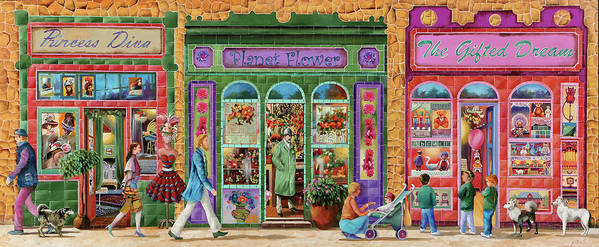 Shop Poster featuring the painting Tre Negozi by Guido Borelli