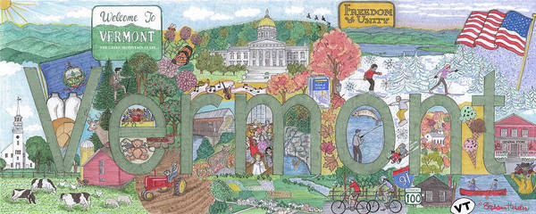 Vermont Poster featuring the mixed media Vermont by Stephanie Hessler