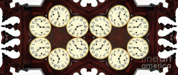 Digital Abstract Poster featuring the photograph Antique Clock Abstract . Horizontal by Renee Trenholm