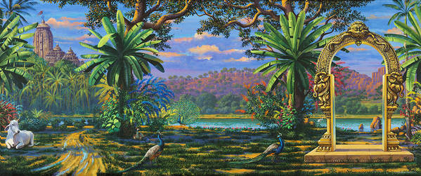 Landscape Poster featuring the painting Backdrop For Three Altars by Vrindavan Das