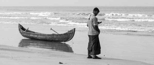 B&w Poster featuring the photograph Cellphone Castaway by Sonny Marcyan