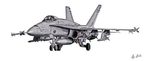 F/a-18 Poster featuring the digital art F/a-18c Forward Quarter by Clay Greunke