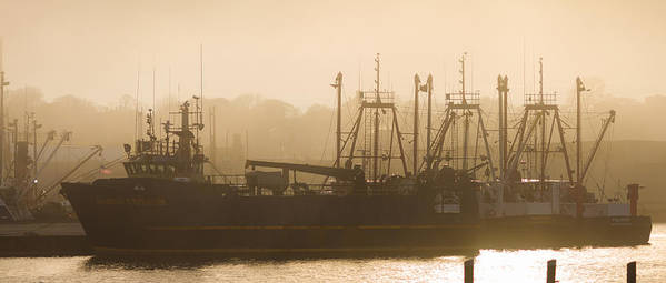 New Bedford Fishing Boats Fog Golden Sunset Silhouette Horizontal Neskone Polaris Poster featuring the photograph Golden Age by John Maciel