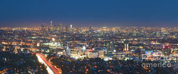 Los Angeles Ca Poster featuring the photograph Hollywood Skyline Night Magic Hour Los Angeles Ca by David Zanzinger