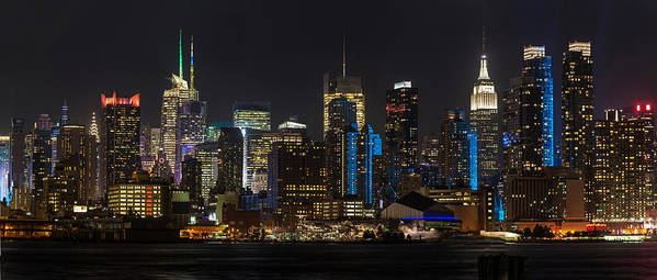 New York Poster featuring the photograph New York In Blue by Mike Reid