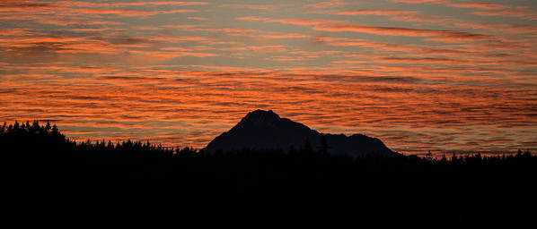 Clouds Poster featuring the photograph Skyfire Over The Olympic Mountains by Ronda Broatch