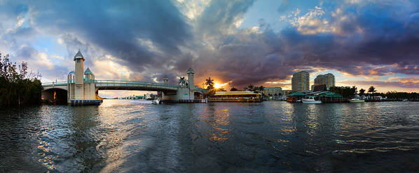 Boats Poster featuring the photograph Sunset Waterway Panorama by Debra and Dave Vanderlaan