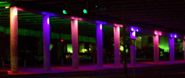 Colored Lights Poster featuring the photograph Under The Freeway by Mountain Femme