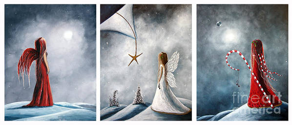 Fairies Poster featuring the painting Winter Fairies By Shawna Erback by Shawna Erback