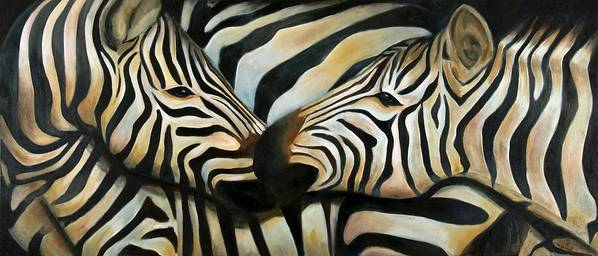 Zebra Poster featuring the painting Z Love by Michal Shimoni