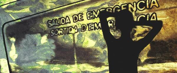 Silhouette Poster featuring the digital art Emergency Exit - Arte Silueta Tren by Arte Venezia