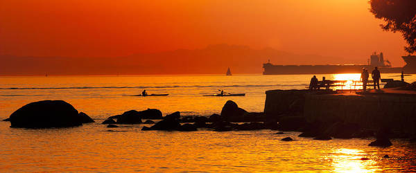 Stanley Park Poster featuring the photograph Seawall Silhouette by Matt Trimble