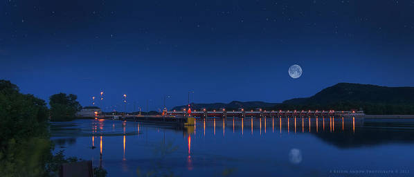 Trempealeau Poster featuring the photograph Trempealeau Damn Under A Full Moon by Kelvin Andow