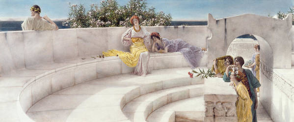Under Poster featuring the painting Under The Roof Of Blue Ionian Weather by Sir Lawrence Alma-Tadema
