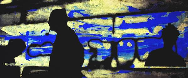 Silhouette Poster featuring the digital art Underground - People Silhouette Serigraphic Arts by Arte Venezia